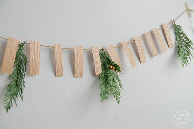 Wood Veneer Greens Garland