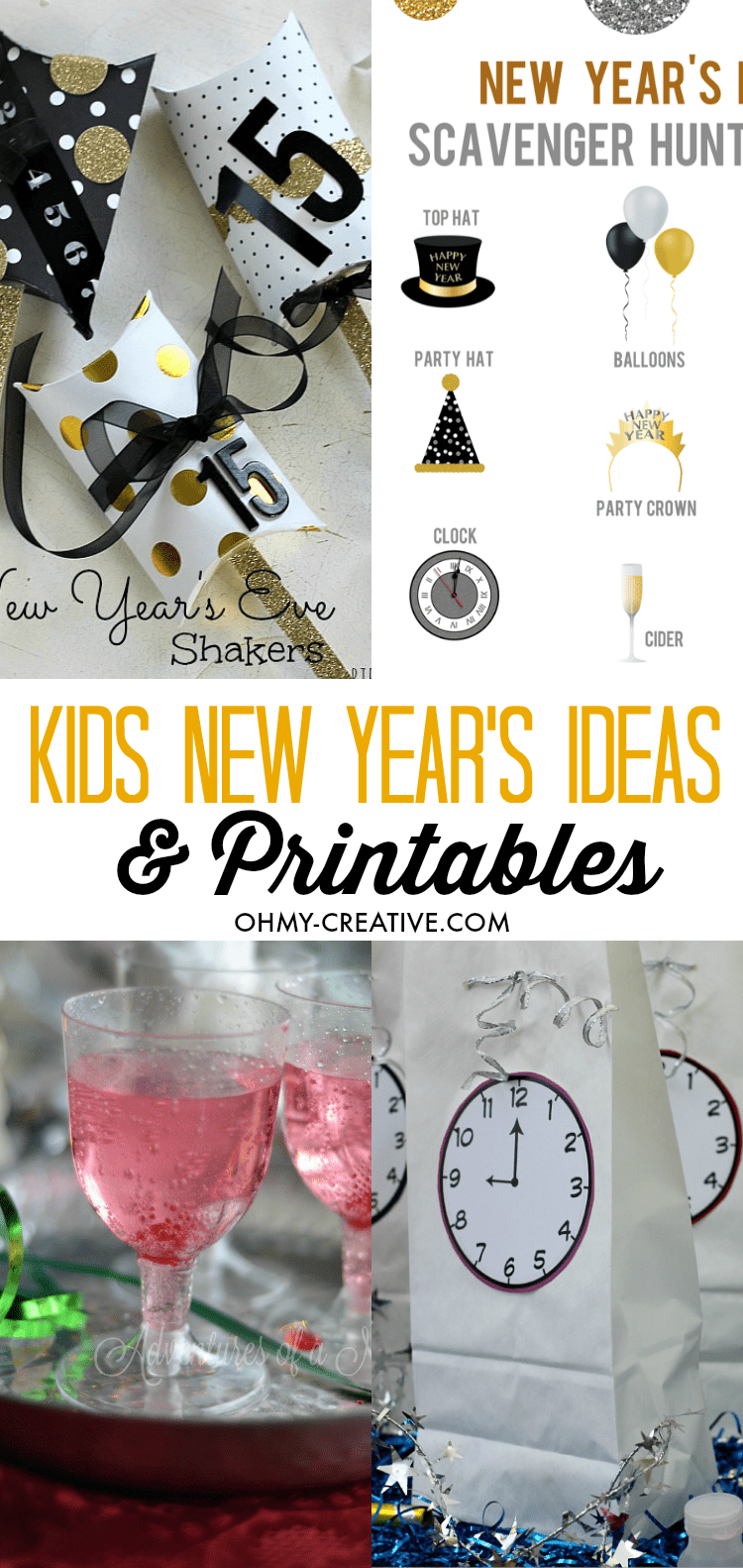 Make New Year's Eve extra special with these Kids New Year's Eve Ideas and Printables - fun kids drinks too!  |  OHMY-CREATIVE.COM