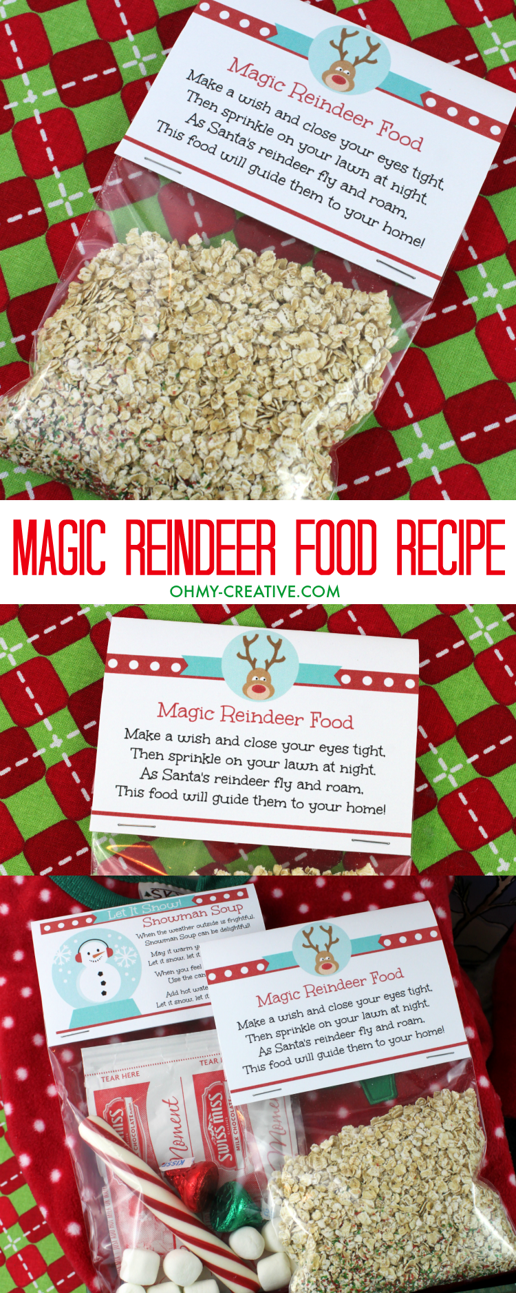 The magic reindeer food recipe is so easy to follow. Printable labels make a cute, festive addition to your Christmas Eve box or stocking stuffer.