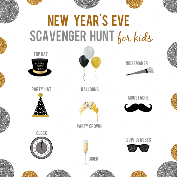 New Year's Eve Kids Scavanger Hunt Printable