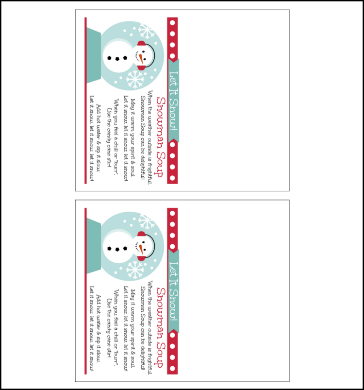 image about Snowman Soup Free Printable Bag Toppers called Snowman Soup Present Recipe - Oh My Inventive