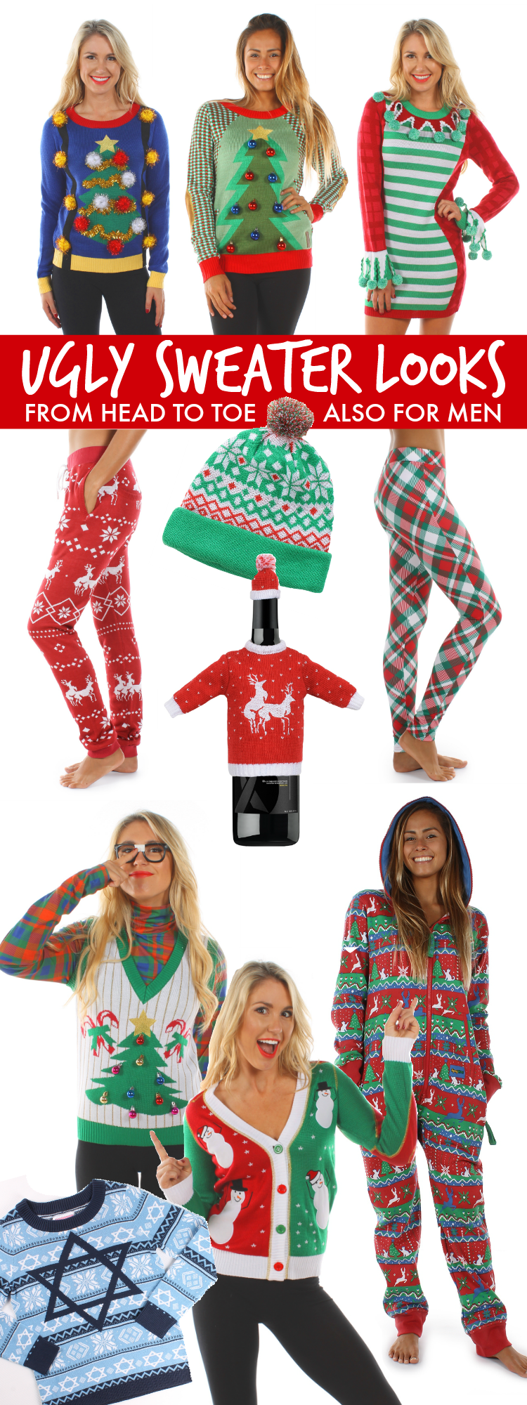 15 do it yourself ugly christmas sweaters oh my creative be hot hip and hilarious with these ugly christmas sweater party looks from head to solutioingenieria