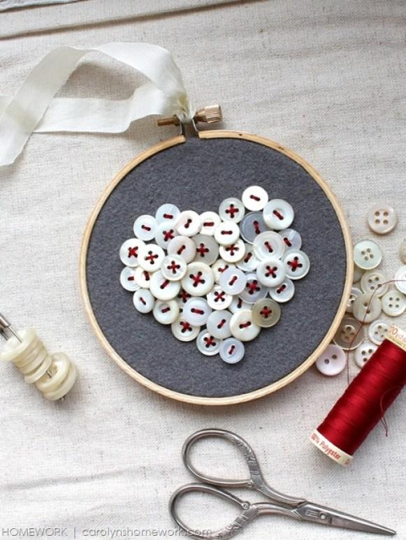 DIY Valentine's Gifts - Vintage Button Heart