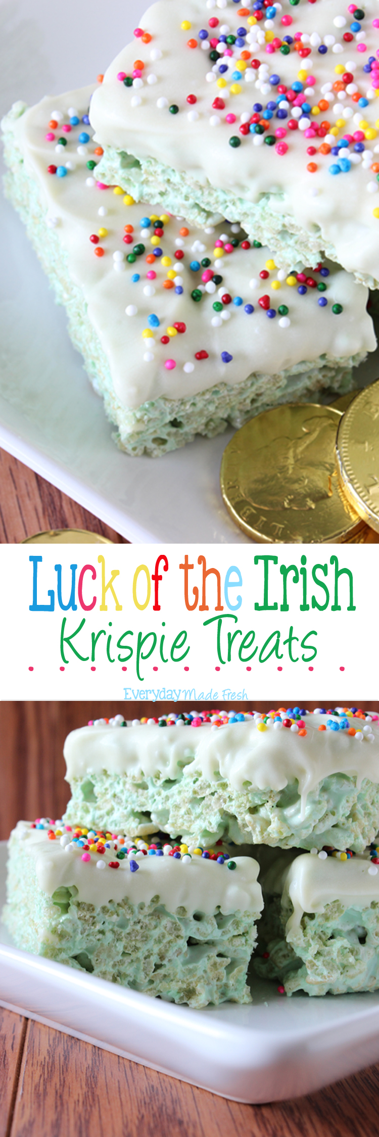These Luck of the Irish Rice Krispie Treats are festive green and dipped in white chocolate with rainbow sprinkles! | OHMY-CREATIVE.COM via EverydayMadeFresh.com