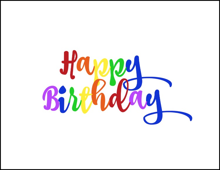 photograph about Printable Happy Birthday Sign named Cost-free Rainbow Content Birthday Printable - Oh My Innovative