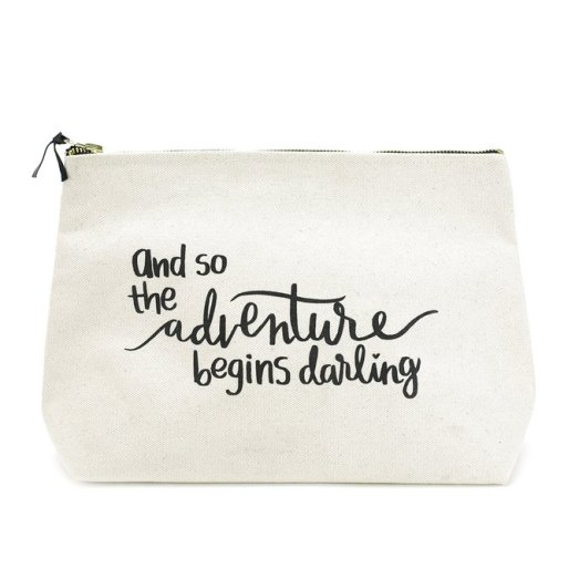 Travel Makeup Bag - Extra Large Canvas Travel Makeup Bag with Quote - Graduation Gifts for Her | OHMY-CREATIVE.COM