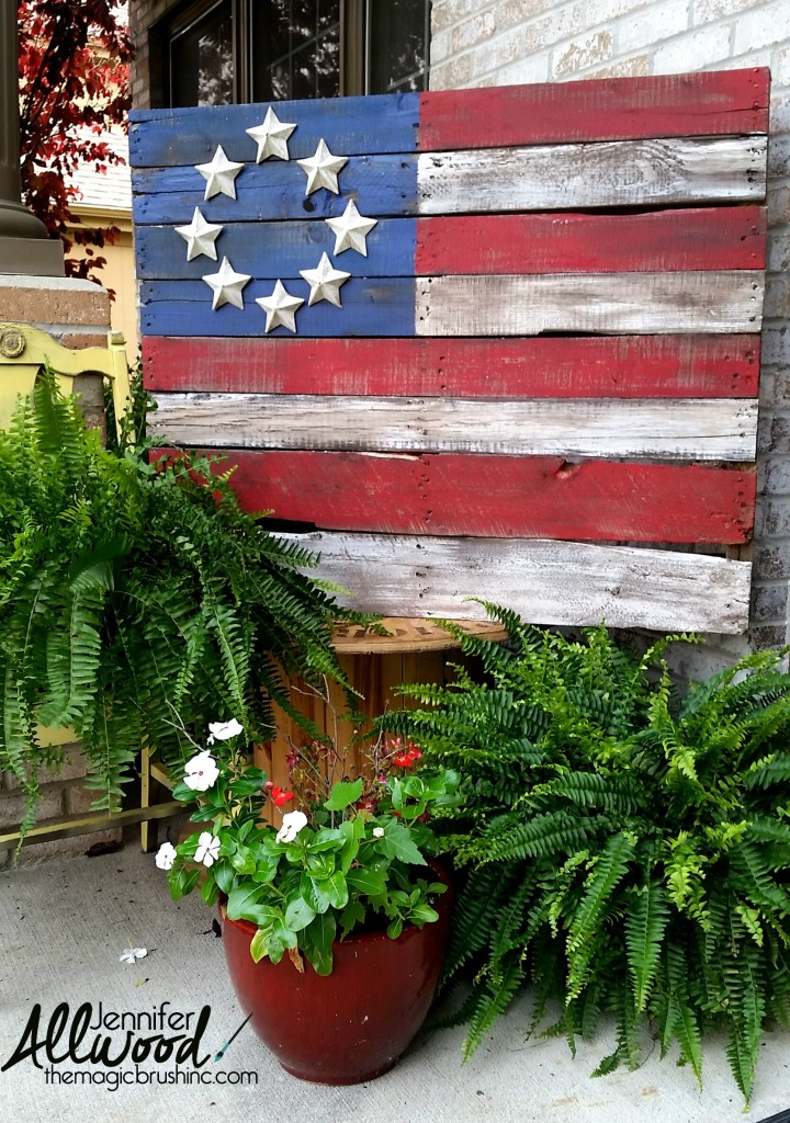 pallet flag with paper mache stars