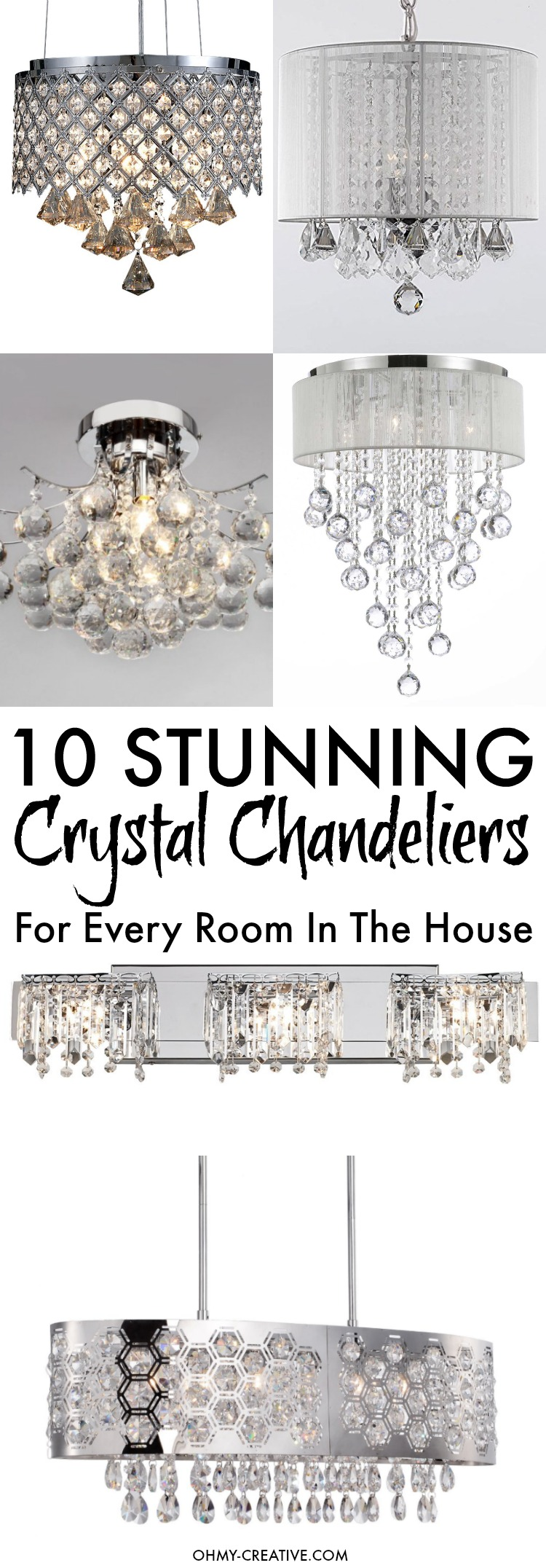 10 Stunning Crystal Chandeliers For Every Room In The House! Update old lights with a little bling and glamour perfect for dining rooms, hallways, bedrooms or bathrooms to update or transform the room! | OHMY-CREATIVE.COM