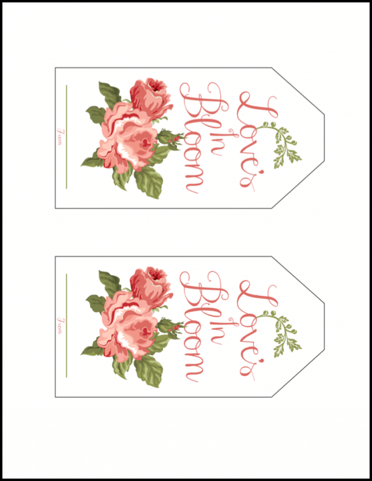 this loves in bloom free printable gift tag featuring vintage cabbage roses is perfect for a