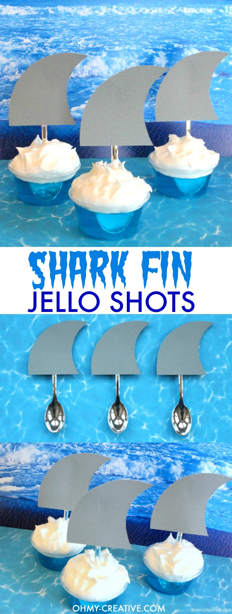 These SHARK FIN JELLO SHOTS are perfect for Shark Week, Jimmy Buffett fins shots, shark party dessert drinks and pool parties! Super easy to make and a creative party jello shot for summer! Fun Jello Shots | OHMY-CREATIVE.COM