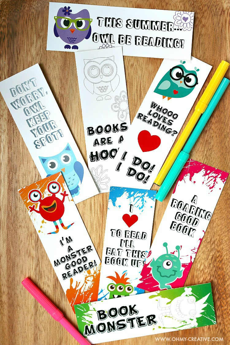 Free Printable bookmarks for kids.