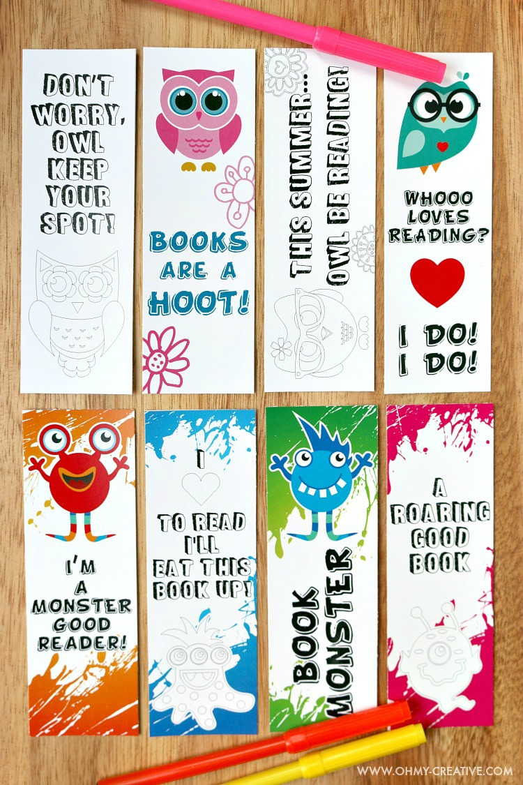 Free printable bookmark coloring pages for kids in owl and monster themes.