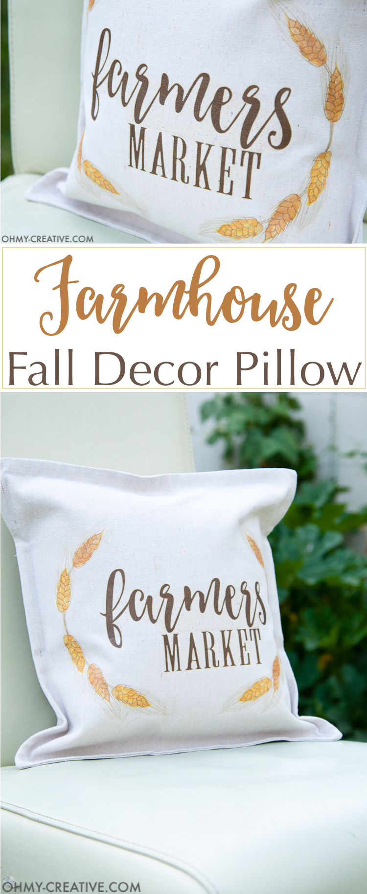 It's time to decorate your home for fall! Make this easy DIY farmhouse fall decor pillow in just a few minutes to celebrate the cooler weather. | OHMY-CREATIVE.COM