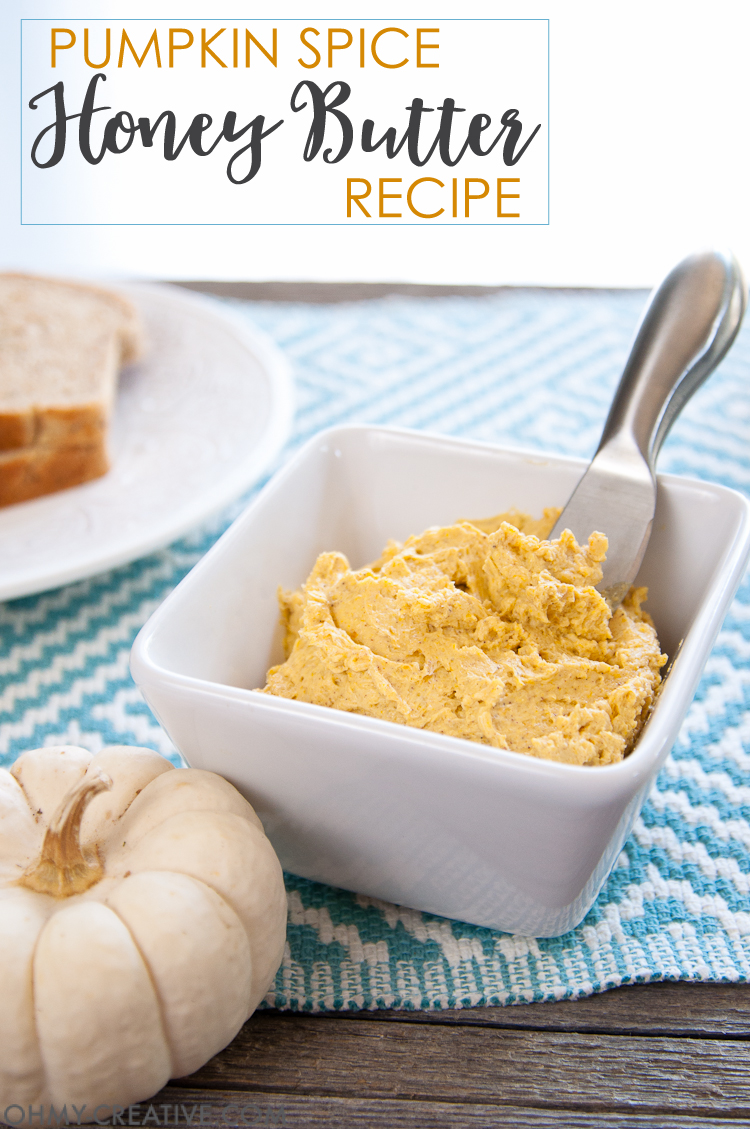 If you can't get enough pumpkin spice this fall, you are going to love this easy pumpkin spice honey butter recipe. Turn your favorite breads and rolls into a special autumn treat. OHMY-CREATIVE.COM