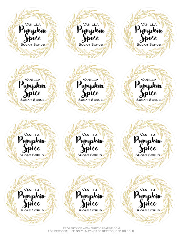 The aroma of this all natural Vanilla Pumpkin Spice Sugar Scrub is simply amazing! This DIY sugar scrub is easy to make as we crave all things pumpkin spice for fall! It makes a great gift for friends, teachers...and yourself as the weather turns cooler. Included is a Free Sugar Scrub Printable Label! Enjoy! OHMY-CREATIVE.COM