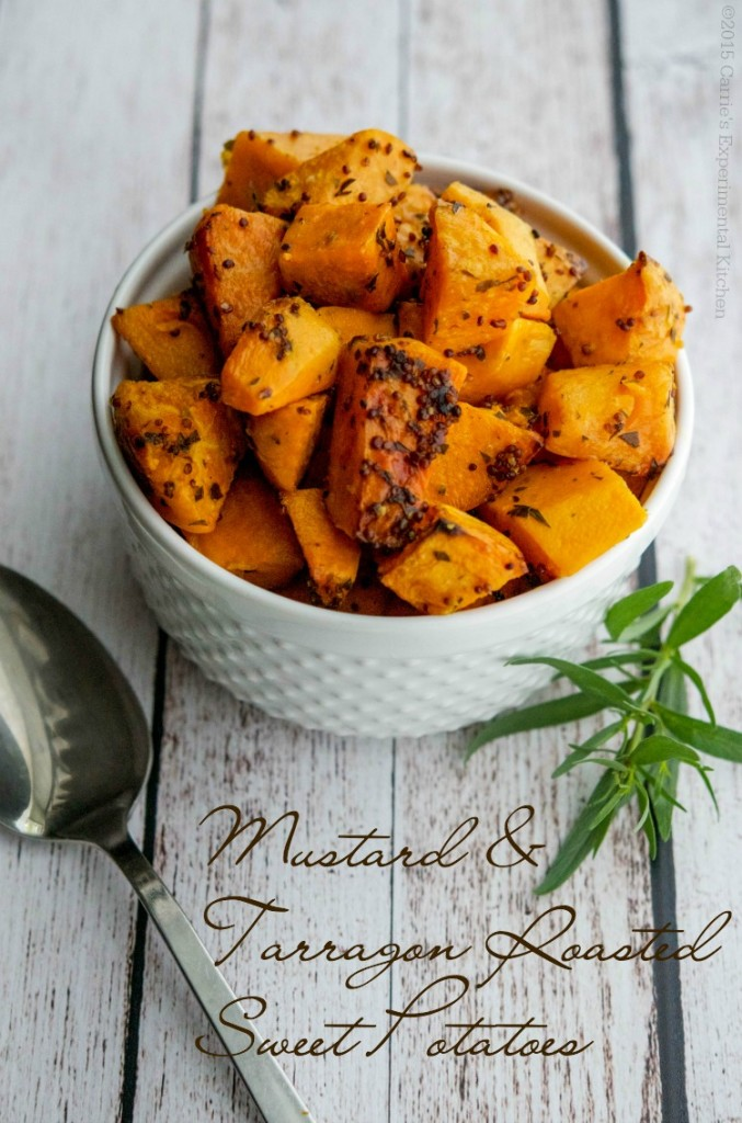 Mustard & Tarragon Roasted Sweet Potatoes Thanksgiving Side Dish - 25 Thanksgiving Side Dishes to complete your Thanksgiving dinner! Including Thanksgiving vegetable side dish recipes, traditional Thanksgiving recipes as well as new recipes to try! | OHMY-CREATIVE.COM