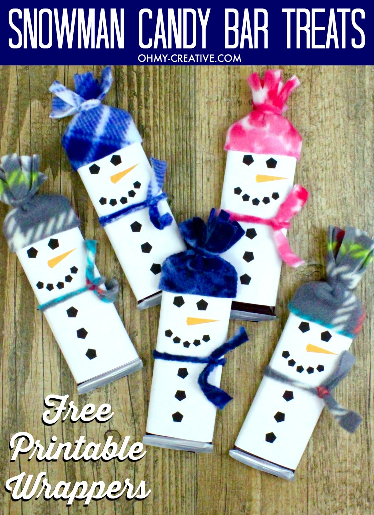 Snowman Free Printable Candy Bar Wrapper Template