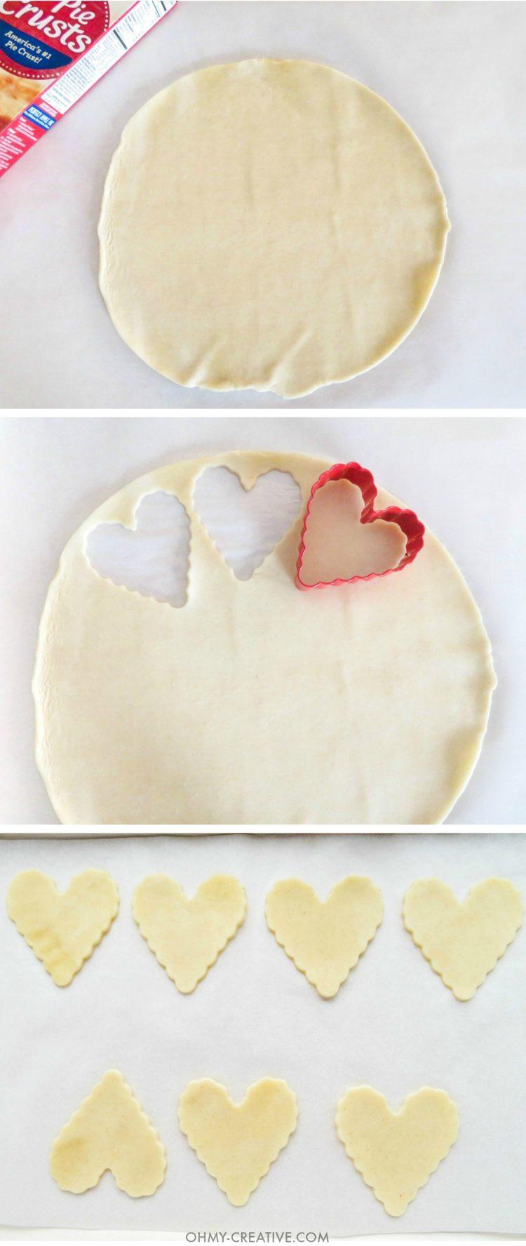 Mini Cherry Pies - Heart Pie Pops - A sweet Valentine's Day Treat! OHMY-CREATIVE.COM   Heart Shaped   Valentine's Day Dessert   Pie Pops   Pie Crust   Cherry Pie   Pillsbury Pie Crust   Premade Pie Crust   Sprinkles   Handheld pies   Mini Pies   Heart