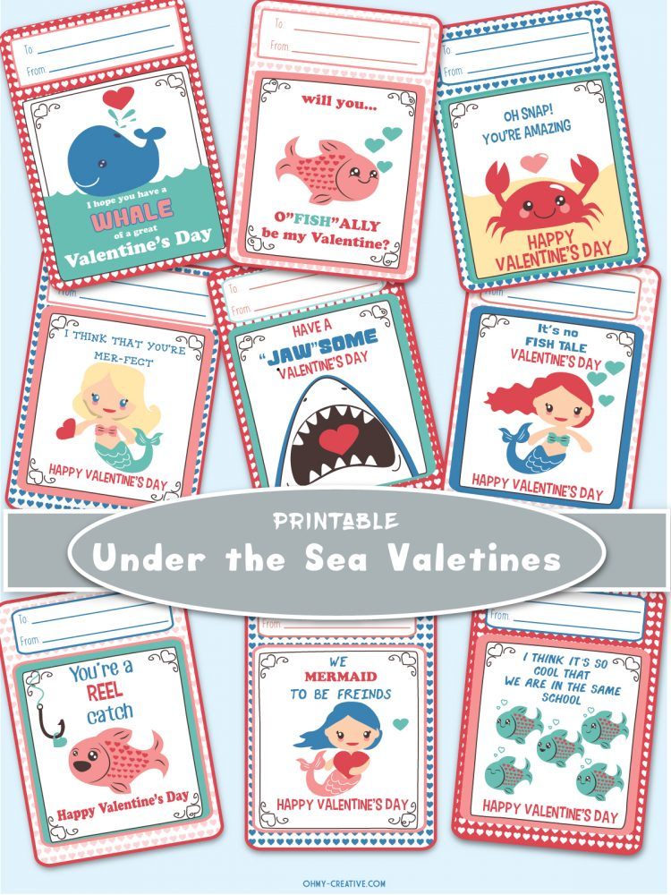 Adorable FREE UNDER THE SEA PRINTABLES for Valentine's Day.   OHMY-CREATIVE.COM   Valentine's Day Cards   Valentines   Preschool Valentines   Kindergarten Valentines   Free Printables   Ocean Printables   Mermaid Printables