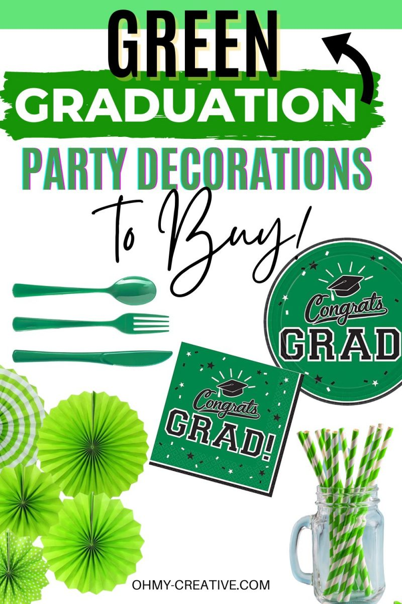 Green Graduation Party Decorations to match your school colors. Find everything you need to decorate for a high school or collage graduation party in you child's school colors! Including plastic silverware, paper napkins, tissue paper pom poms, tissue paper pinwheels, paper straws, paper plates, and graduation party signs!