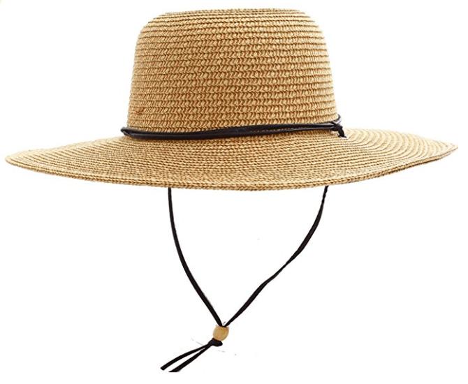 UPF 50+ Wide Brim Braided Straw Sun Hat with Lanyard