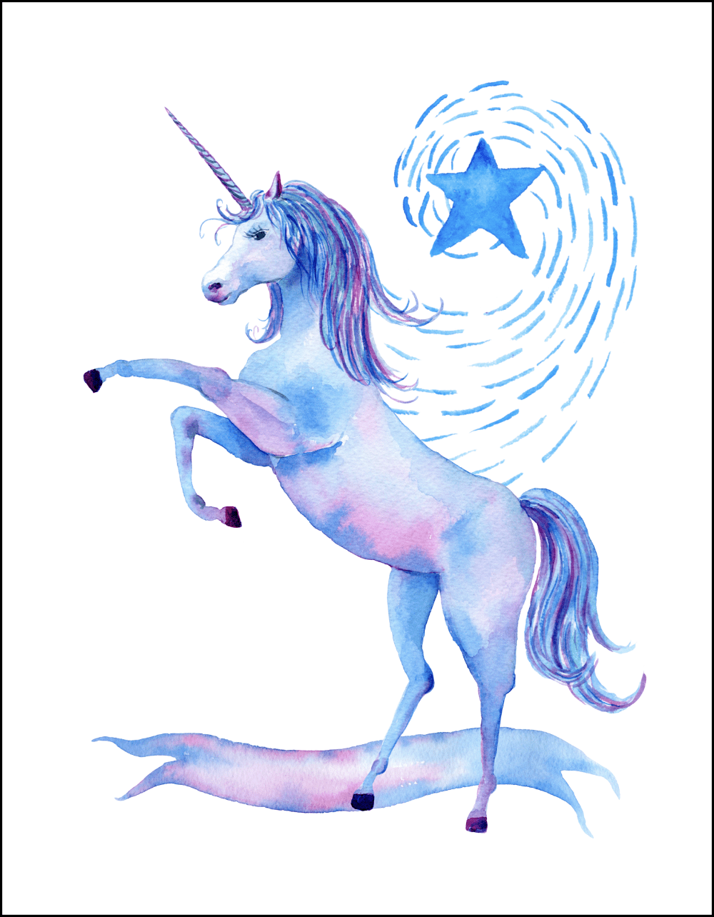 graphic about Free Unicorn Printable referred to as Free of charge Printable Watercolor Unicorn Photographs - Oh My Inventive