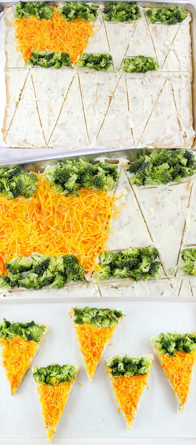 Carrot Vegetable Pizza Recipe with an Easter twist! Chopped veggies with a Crescent Roll crust make these veggie bars a fun Easter appetizer or brunch menu item. | OHMY-CREATIVE.COM |  #carrotappetizer #sidedishrecipe #crescentrollrecipe  #Easterrecipe #Easter #easterbrunch #veggiebars #vegetablepizza