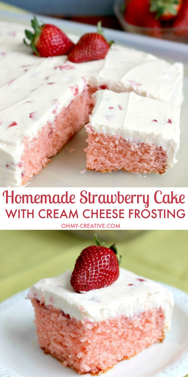 strawberry sheet cake strawberry cake with cheese frosting oh my 7768