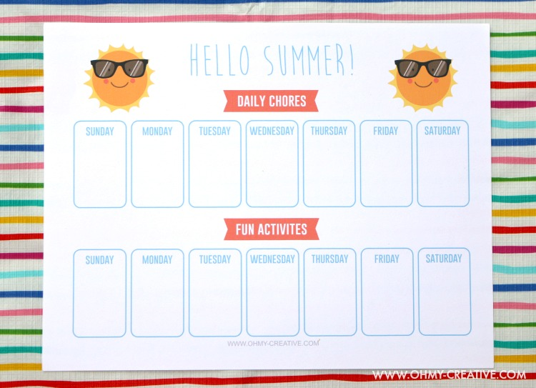 photograph regarding Summer Printable titled Printable Summer time Routines For Little ones Planner - Oh My Imaginative