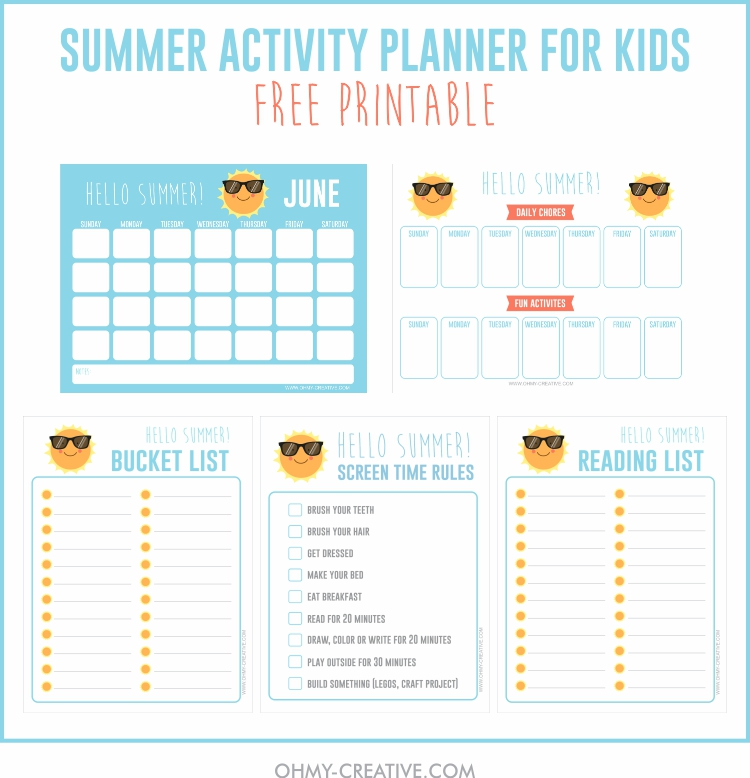 printable summer activities for kids planner oh my creative
