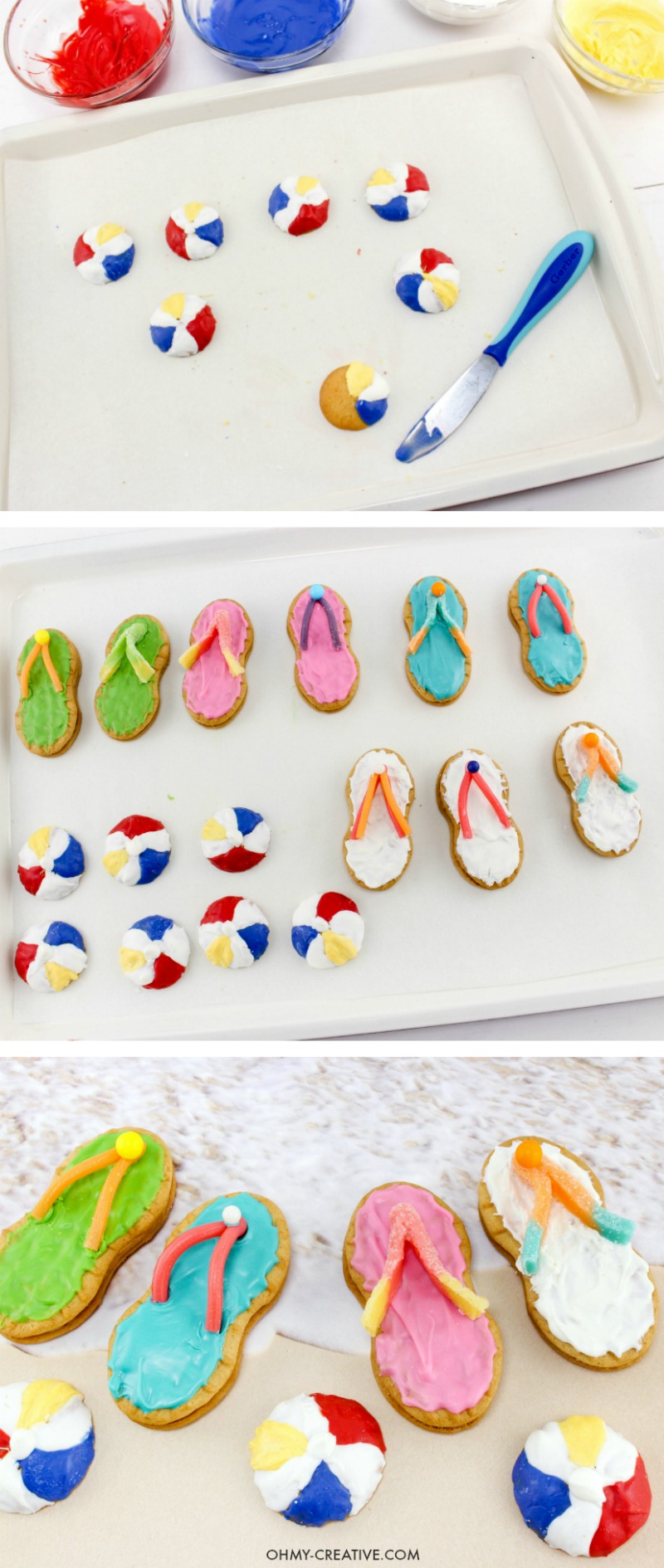 How to make Nutter Butter Flip Flop Cookies | Summer Desserts | Beach Party Cookies | Beach Theme Party Desserts | Pool Party Desserts | Nutter Butter Cookies | Luau Party | Easy Flip Flop Cookies | Sweets
