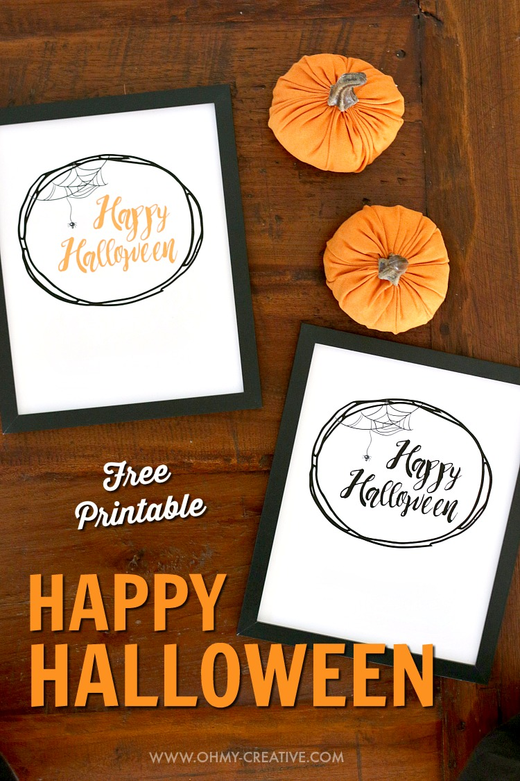 picture relating to Halloween Decorations Printable called Satisfied Halloween No cost Halloween Printables - Oh My Imaginative
