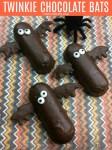 Halloween Twinkie Chocolate Bats   OHMY-CREATIVE.COM   Halloween Bat Desserts   Bat Treats   Halloween Pops   Halloween Food Ideas for Kids   Halloween Finger Foods   Halloween Themed Food   Easy Halloween Treats   Chocolate