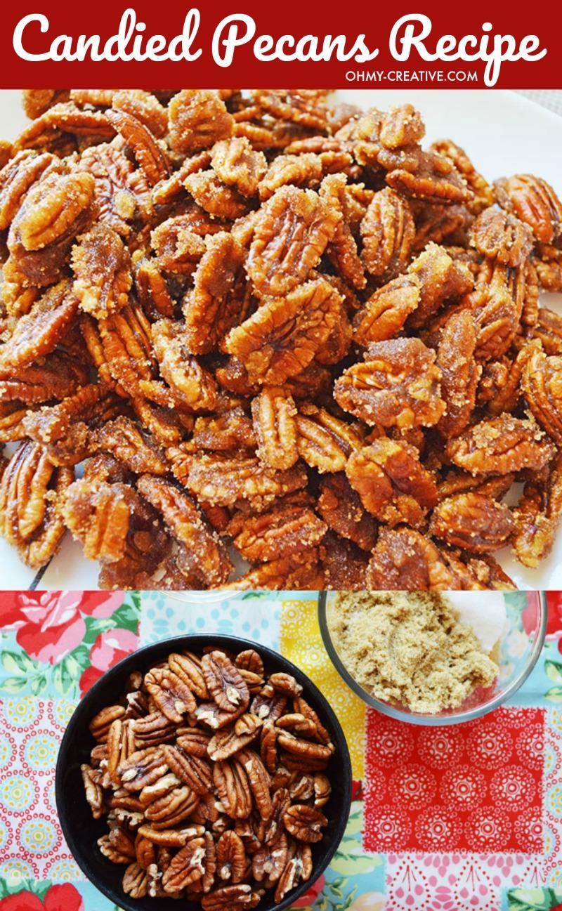 Candied Pecans Recipe | OHMY-CREATIVE.COM | Candied Pecans | Glazed Pecans | Sugar Coated Pecans | Sugared Pecans | Candied Pecans for Salads | Candied Pecans Brown Sugar