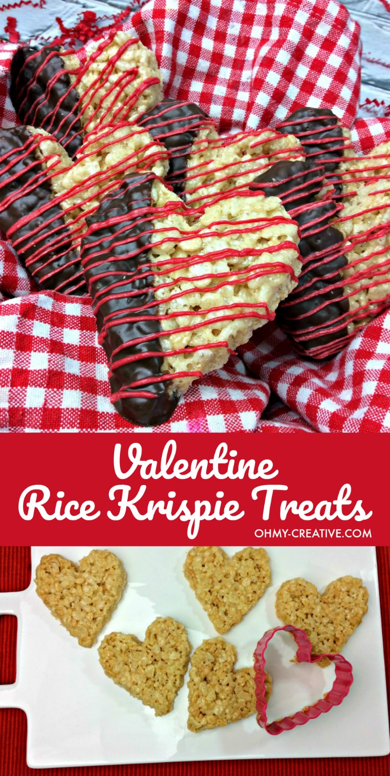 Valentine's Day Rice Krispie Treats | OHMY-CREATIVE.COM | Heart Shaped Rice Krispie Treats | Homemade Rice Krispie Treats | Dipped Rice Krispie Treats | Cute Valentine's Day Ideas