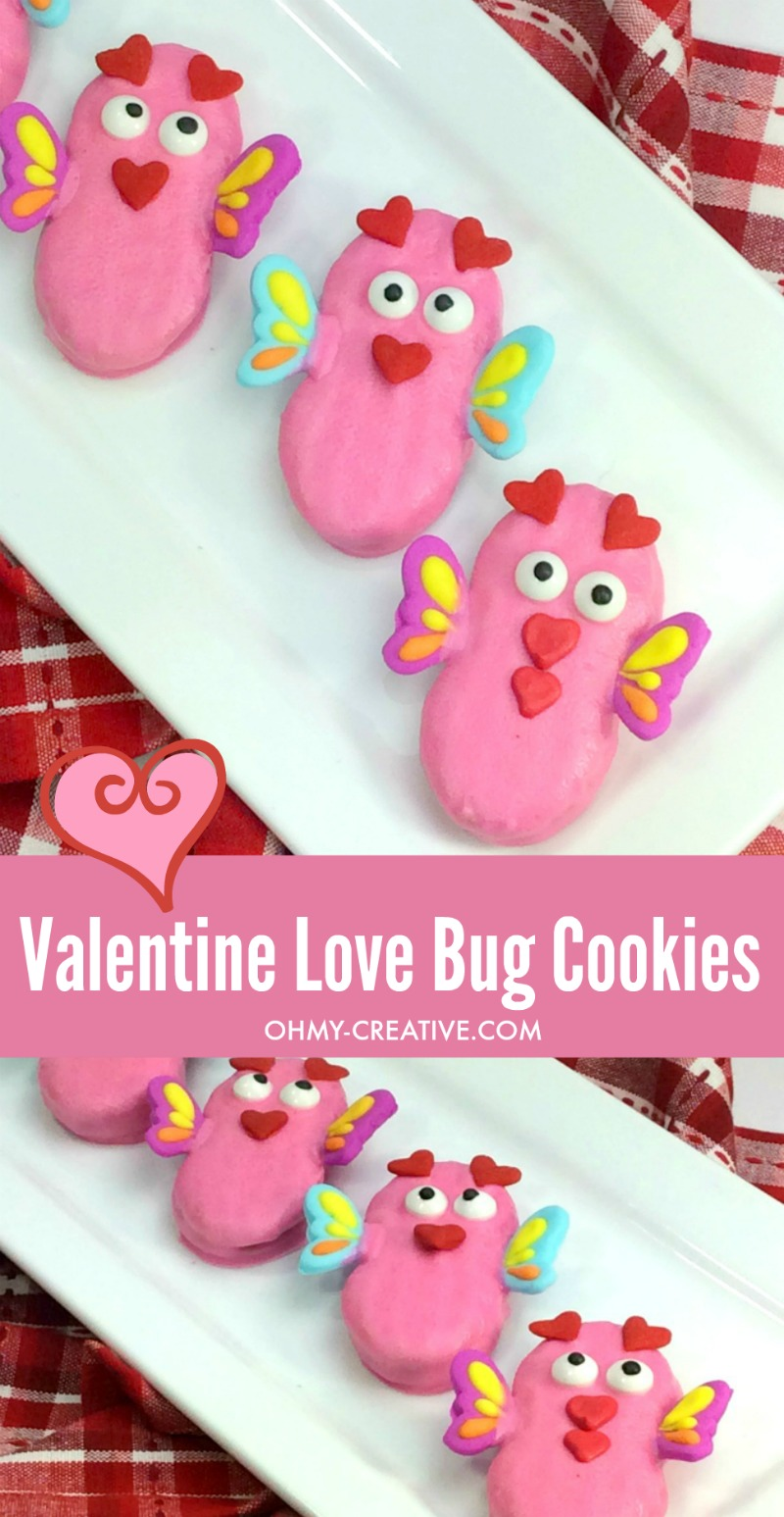 Love Bug Cookies | OHMY-CREATIVE.COM | Valentine's Day Cookies | Cookies for Valentine's Day | Valentine Treats | Valentine Cookie Recipe | Valentine Cookies | Nutter Butter Cookies