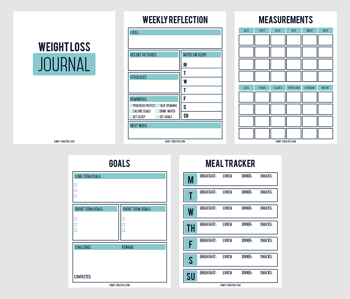 Nifty image for printable weight loss journals