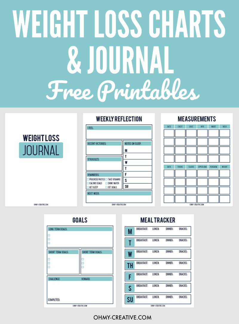 Five Page Weight Loss Chart and journey free printables