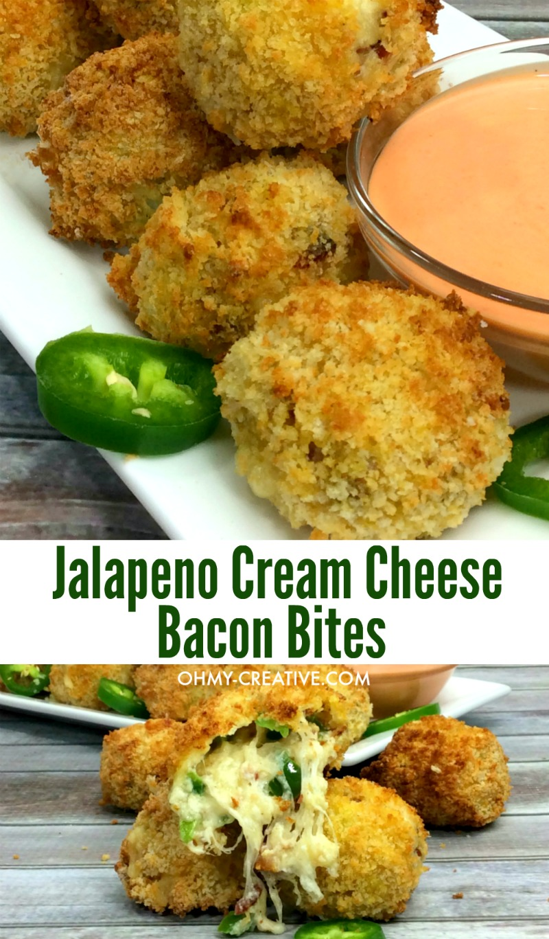 Jalapeno Cream Cheese Bacon Bites Appetizer | OHMY-CREATIVE.COM | Jalapeno Bacon | Cream Cheese Jalapeno Popper Recipe | Jalapeno Recipes Jalapeno Bites | Jalapeno pepper recipes | Jalapeno Bombers #appetizer #jalapenorecipe