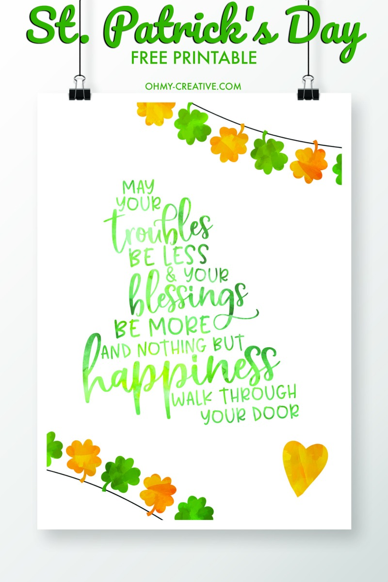 St Patricks Day Sayings Free Printables Oh My Creative