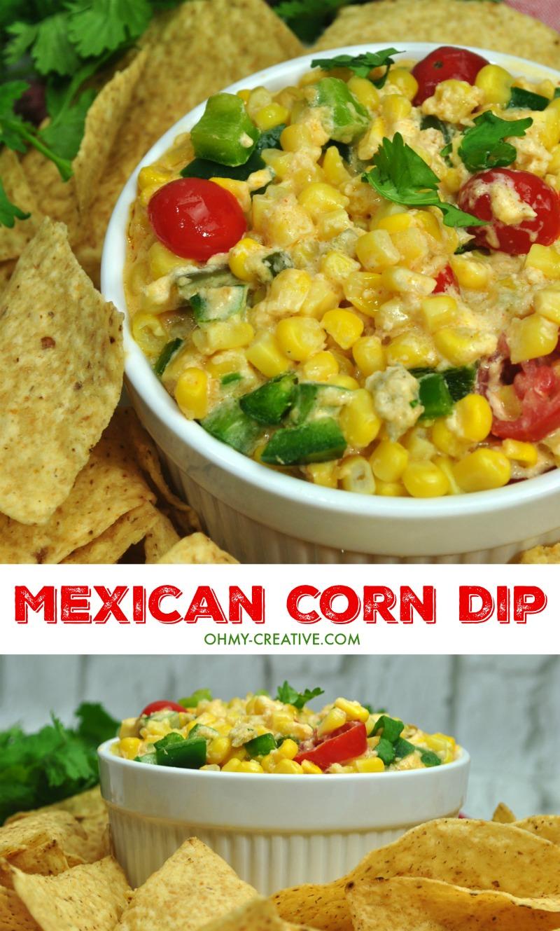 Mexican Corn Dip Recipe | OHMY-CREATIVE.COM | Corn Dip Cream Cheese | Corn Dip | Hot Corn Dip | Jalapeno Corn Dip #appetizer #corndip #Mexican #spicy