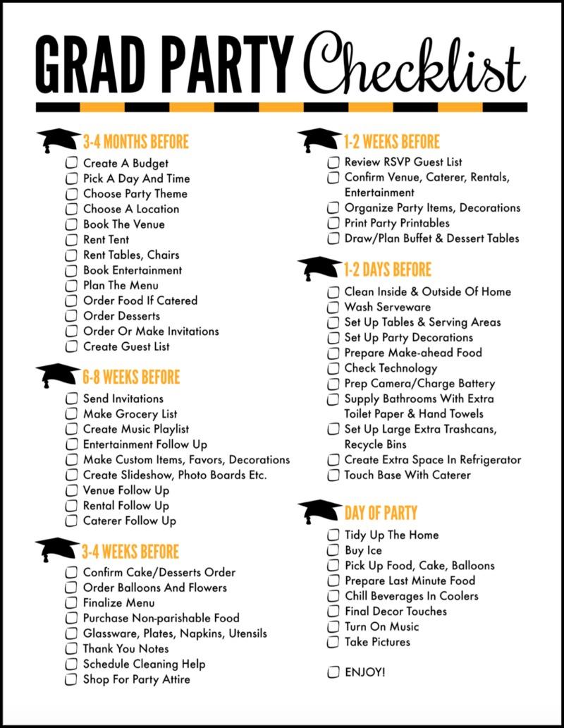 Grad Party Checklist for Graduation Party Planning |OHMY-CREATIVE.COM | Graduation Party Ideas | Graduation Party Printables