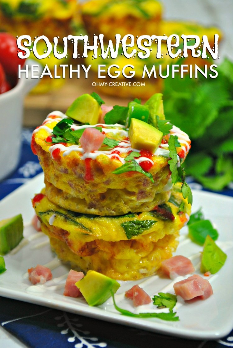 These Southwestern Healthy Egg Muffins are a great muffin recipes and easy muffin pan eggs. OHMY-CREATIVE.COM Egg Muffin Recipe | Breakfast Egg Muffins #eggmuffins #eggs #breakfast #brunch
