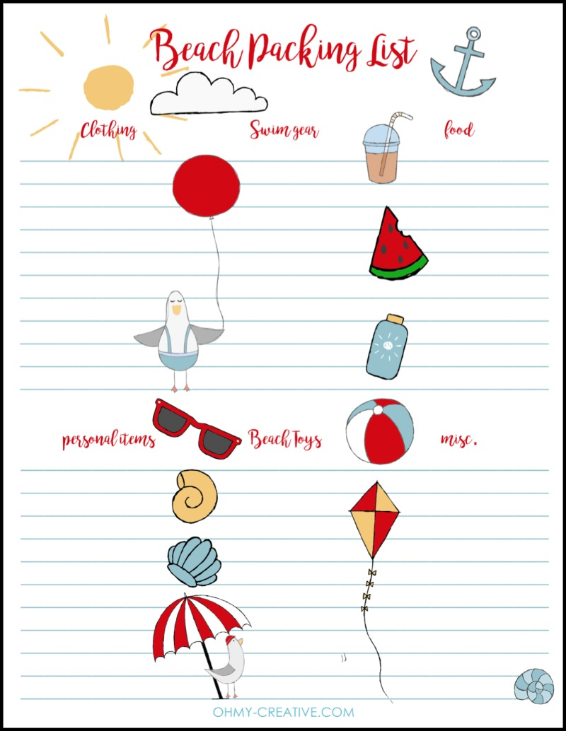 Free Beach Packing List Printable Oh My Creative