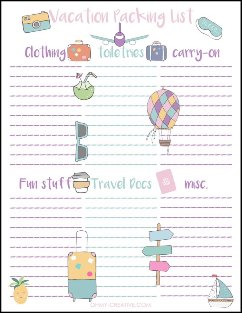 personalized vacation packing list free printable oh my creative