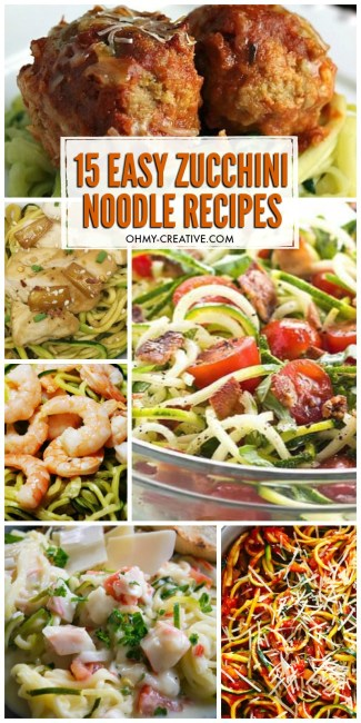 These 15+ Easy Zucchini Noodle Recipes are healthy recipe options. Delicious spiralizer recipes | OHMY-CREATIVE.COM | zoodle recipes | zucchini noodle recipe with chicken | #sprializer #spiralizerrecipes #zoodlerecipes #zucchininoodlerecipes #healthyzucchinirecipes