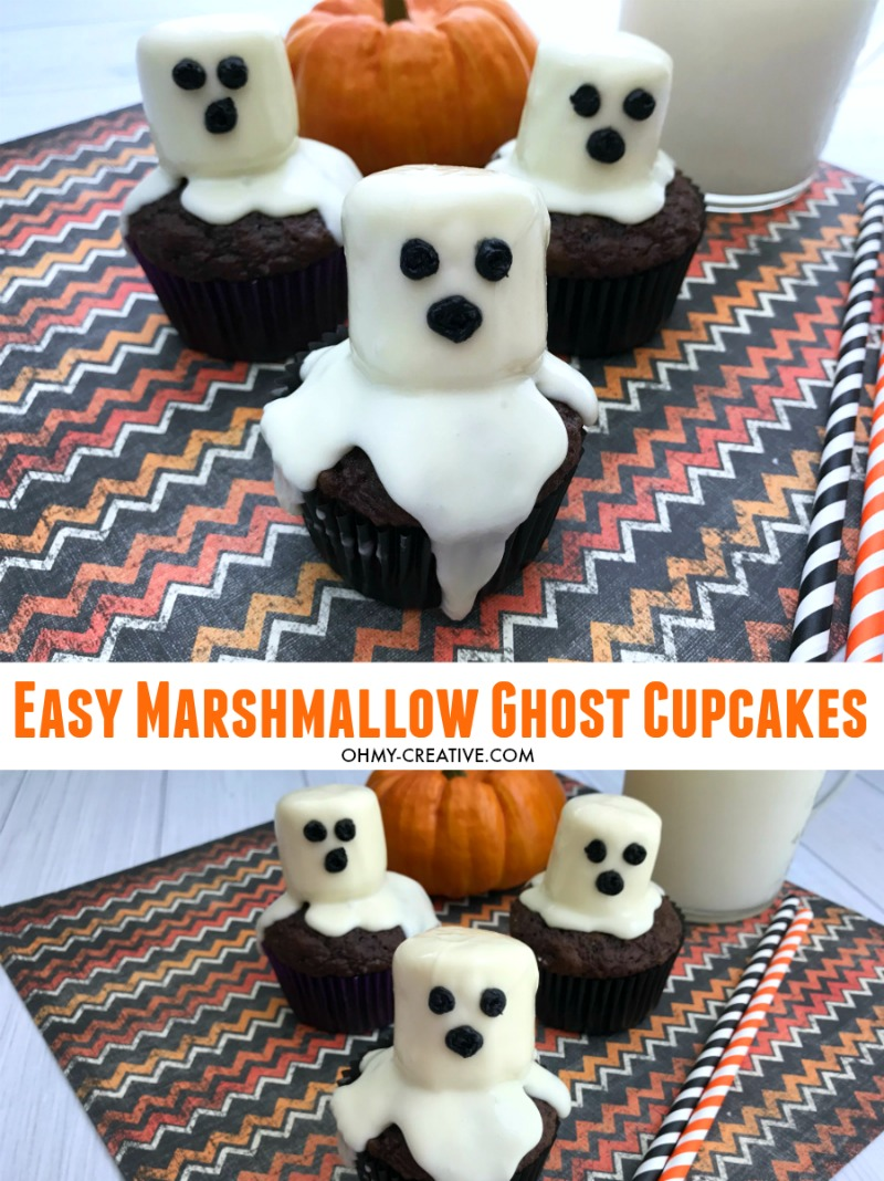 These Marshmallow Ghost cupcakes for Halloween are an EASY semi-homemade treat! OHMY-CREATIVE.COM | #marshmallowghostcupcakes #ghostcupcakes #ghost #halloweentreat #halloweendessert #halloween