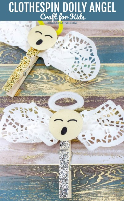 These Easy Clothespin Doily Angel Crafts for Kids make great DIY ornaments for young children. A great Christmas craft the kids can hang on the tree every year! OHMY-CREATIVE.COM #diychristmasornament #christmascraft #kidscraft #christmas #angel #angelcraft