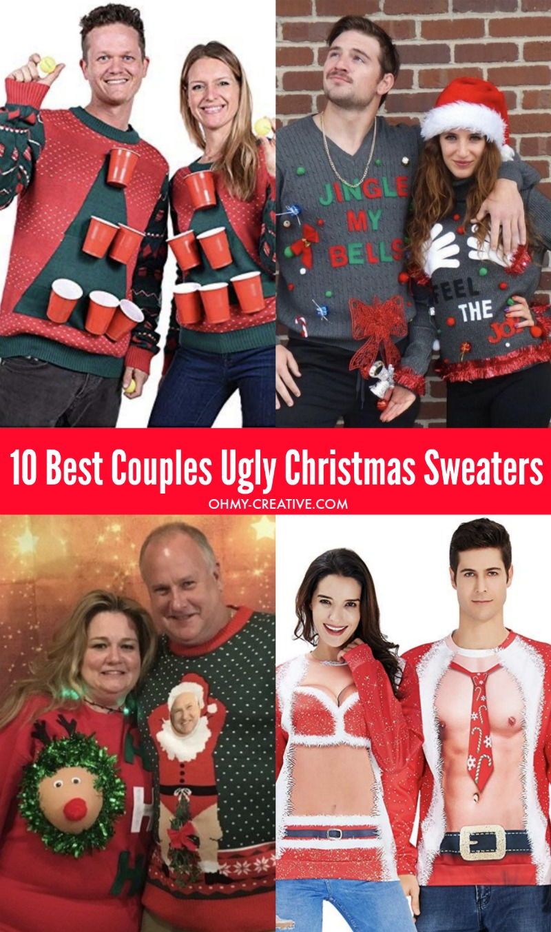10 Of The Best Couples Ugly Christmas Sweaters Oh My Creative