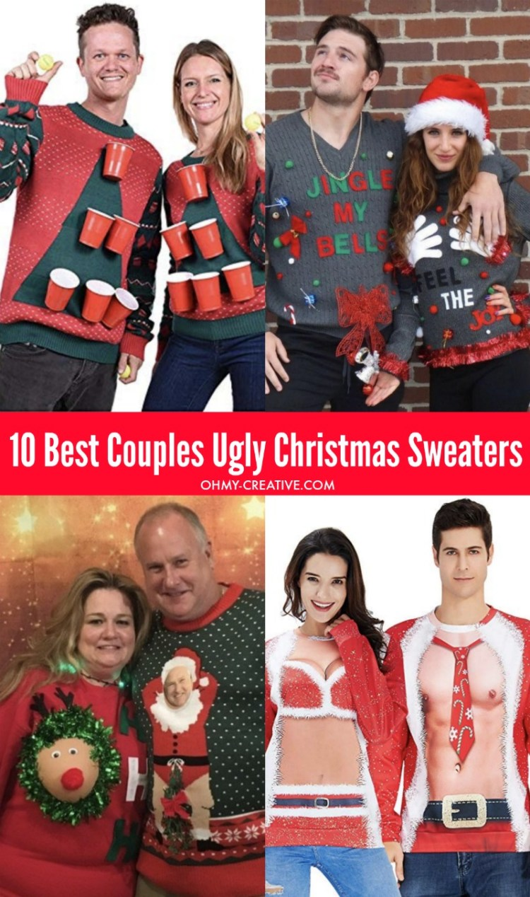 Head to the party in these 10 Best Couples Ugly Christmas Sweaters! These funny Christmas sweaters will be a big hit with friends - maybe even win a prize! #uglychristmassweater #uglychristmassweaterparty #funnychristmassweater #coupleschristmassweaters